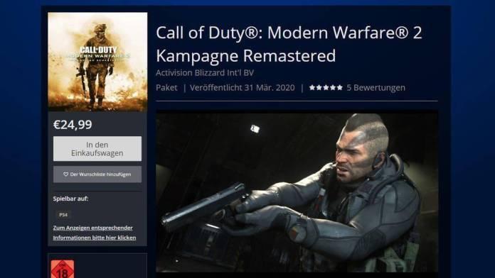 filtracion remasterizacion call of duty modern warfare 2