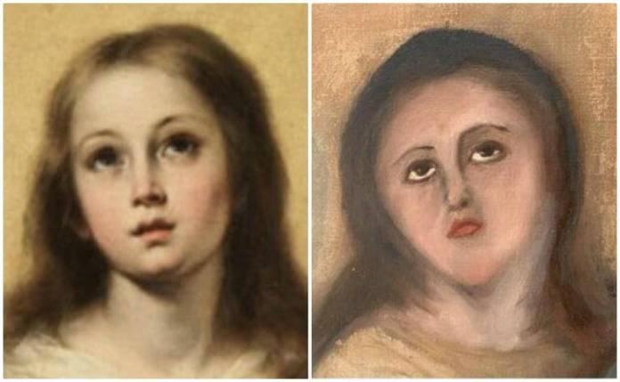 """""""Inmaculada"""", la pintura de Murillo (1678) arruinada por un restaurador amateur 1"""