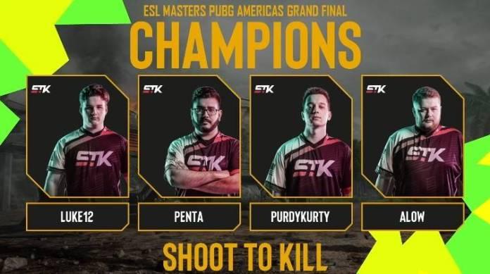 ESL PUBG Masters: El equipo estadounidense Shoot To Kill (STK) es el campeón del torneo 1