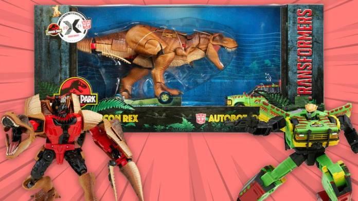 Transformers y Jurassic Park se unen en una nueva colaboración en un set de figuras de Hasbro.