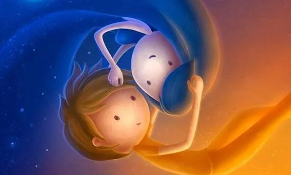 Deux-enfants-calin-symbolisant-jour-et-nuit