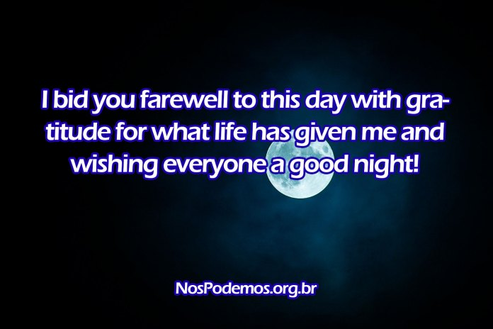 I bid you farewell to this day with gratitude for what life has given me and wishing everyone a good night!