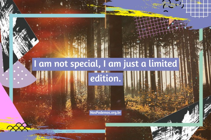 I am not special, I am just a limited edition.