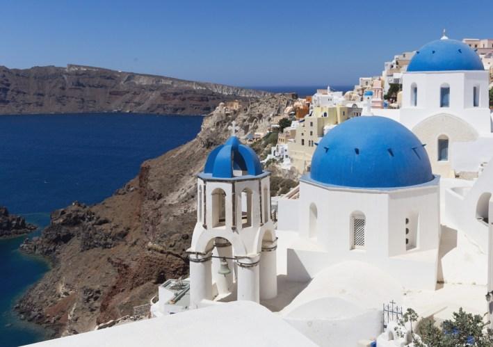 Santorini Oia Igreja de cúpula Azul