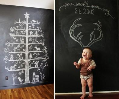 Árvore de natal feita em parede com tinta de lousa, usando giz! Muito legal, né? E dá para apagar e inventar novas decorações todo dia. Fonte: http://bkids.typepad.com/intro/2012/12/chalkboard-christmas-ideas-presents.html