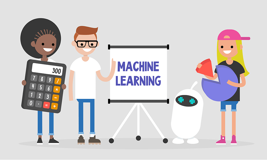 Machine learning technologies. Millennial students teaching a robot to analyse data
