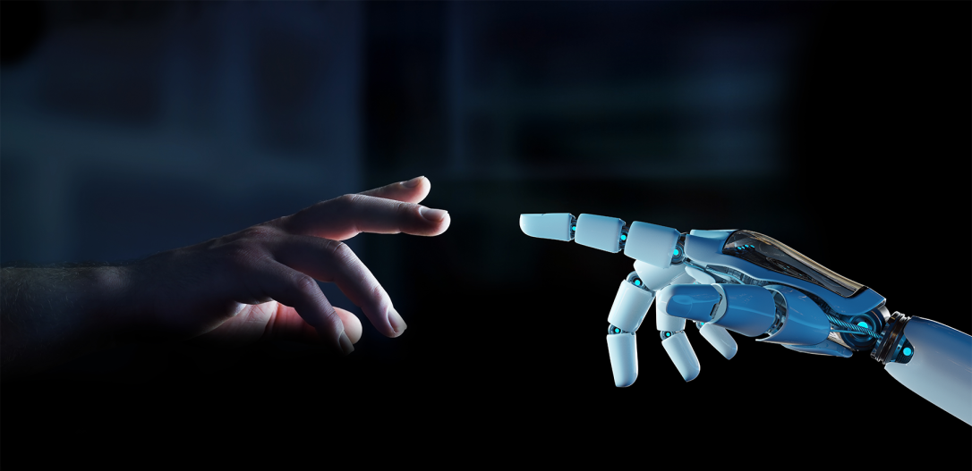 White cyborg finger about to touch human finger 3D rendering-1
