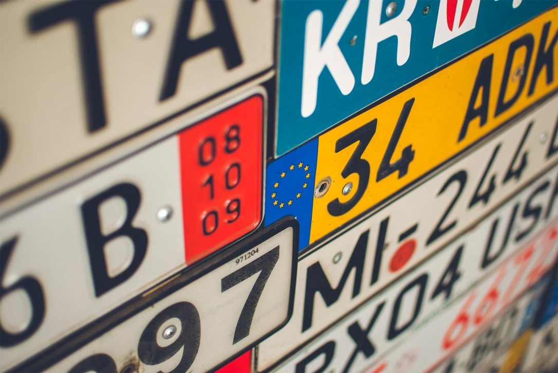 Collection of European license plates from different countries
