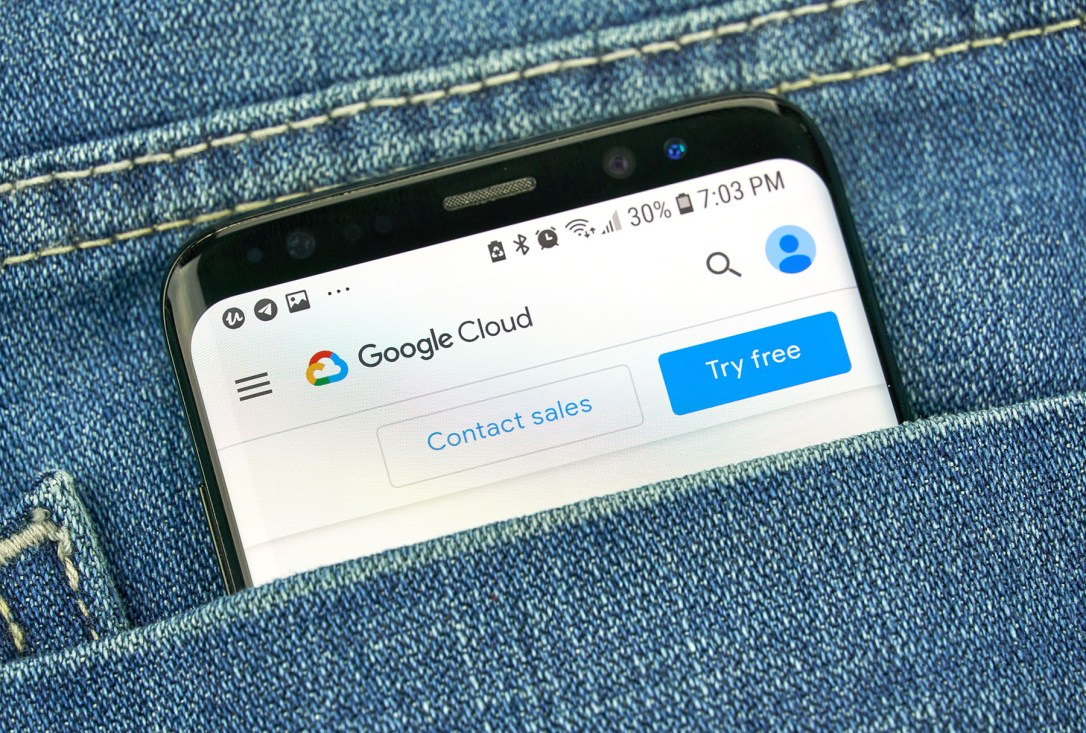 Google Cloud Platform on a phone screen in a pocket