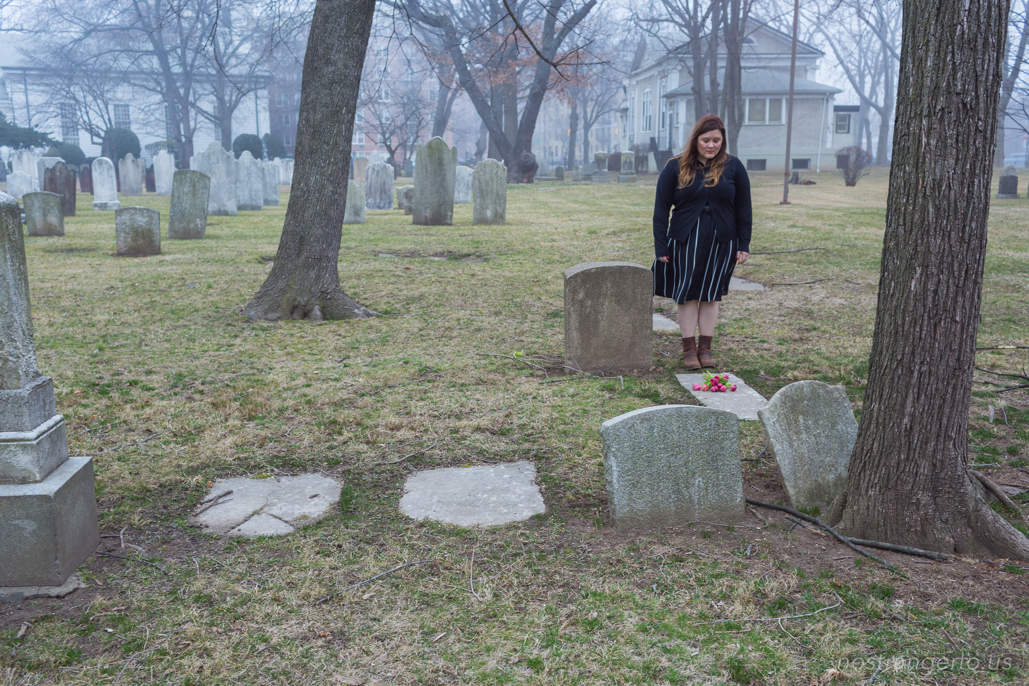 Juliette in the Flatbush Reformed Church Cemetery