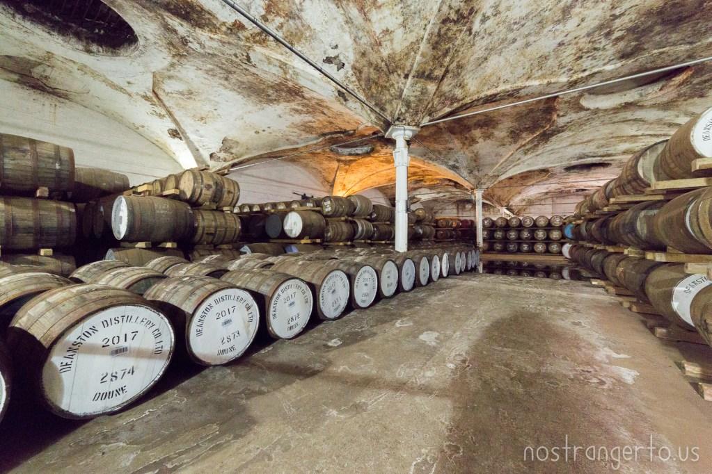 Deanston Distillery barrels aging