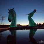 The Kelpies in Falkirk, Scotland at sunset.