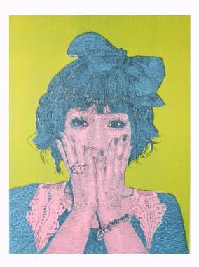 Stop Thinking - Surprise, sérigraphie sur papier de riz, 80x106cm, 2011