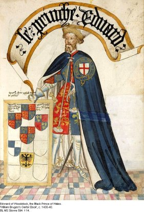 Le prince Édouard de Woodstock, Bruges Garter Book, v. 1430/1440 – © British Library, London