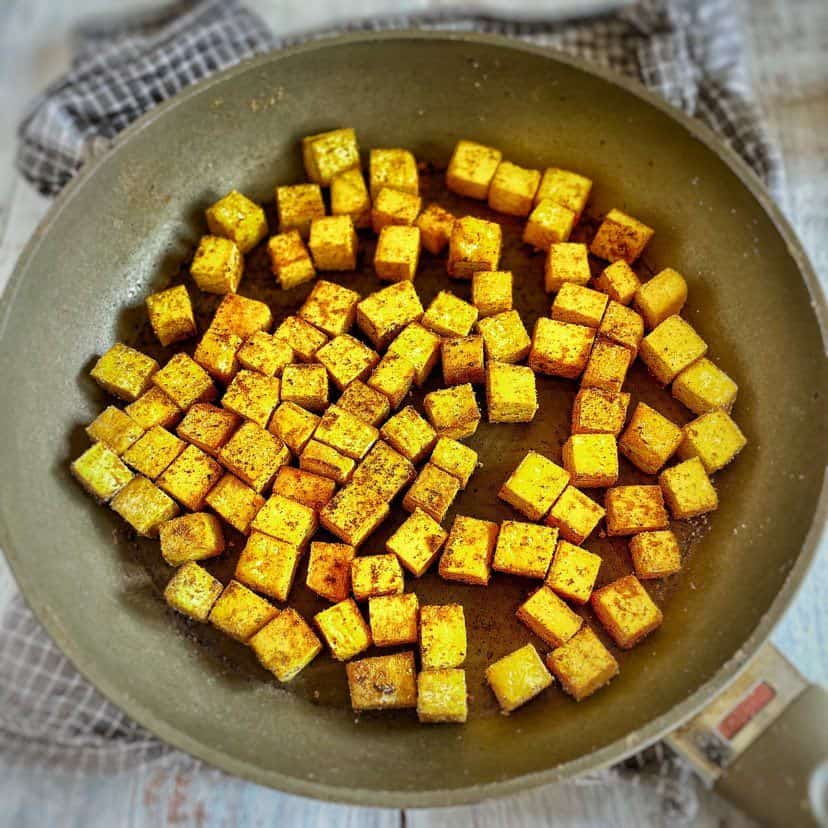 tofu cubes for vegan Thai Curry