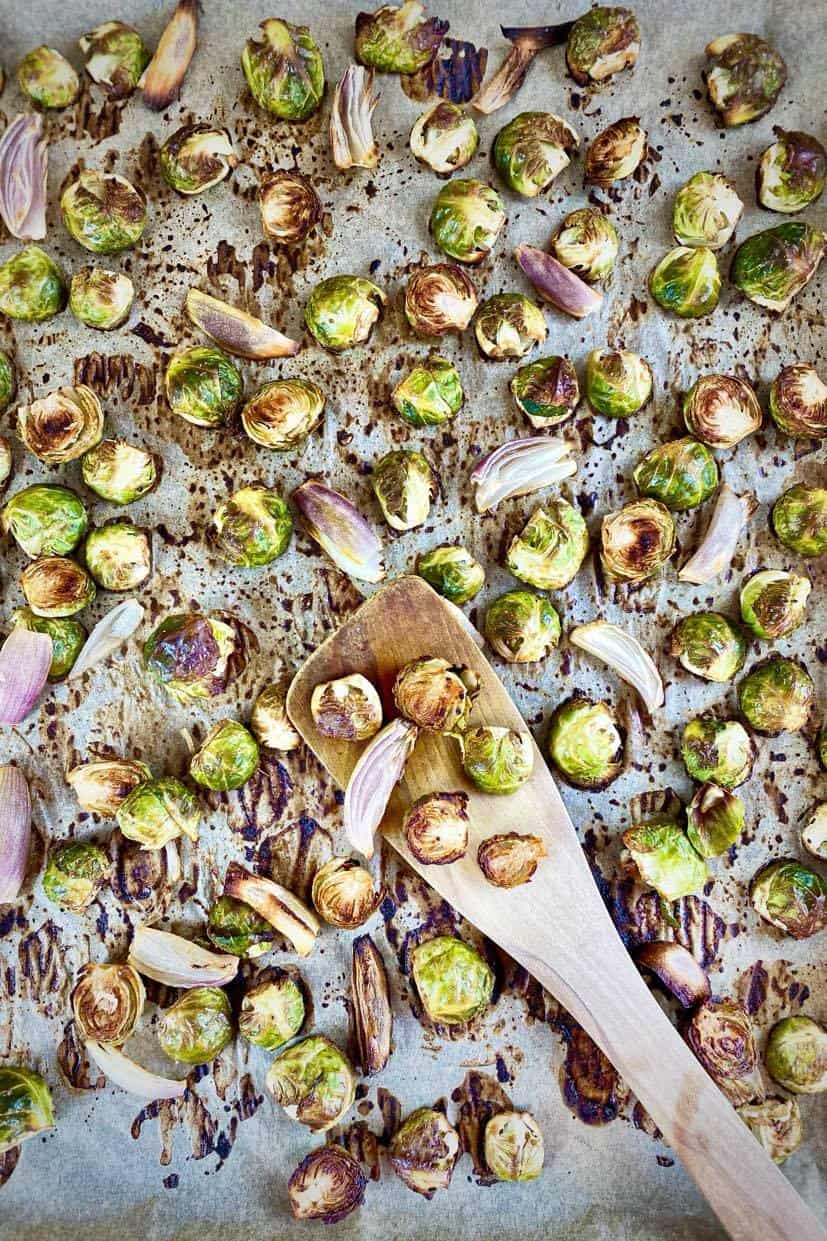 roasted Brussels sprouts on baking tray