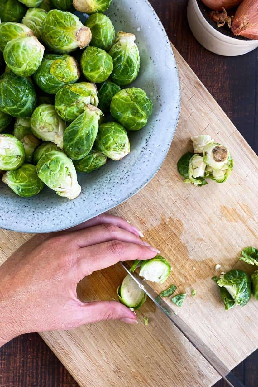 how to cut Brussels sprouts