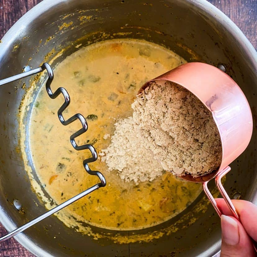 adding nutritional yeast to vegan potato soup