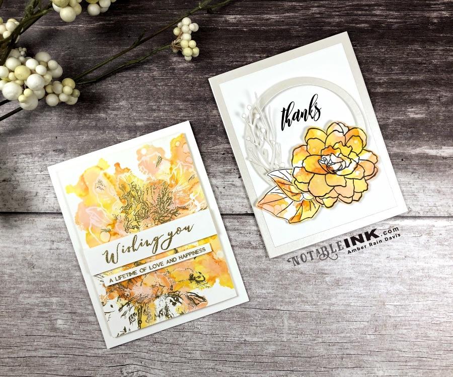 Altenew Wispy Begonia & Altenew Engagement Wishes with Alcohol Ink