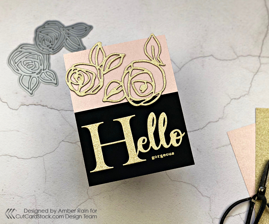 Hello Gorgeous card featuring MirriSparkle Glitter Cardstock from CutCardStock.com