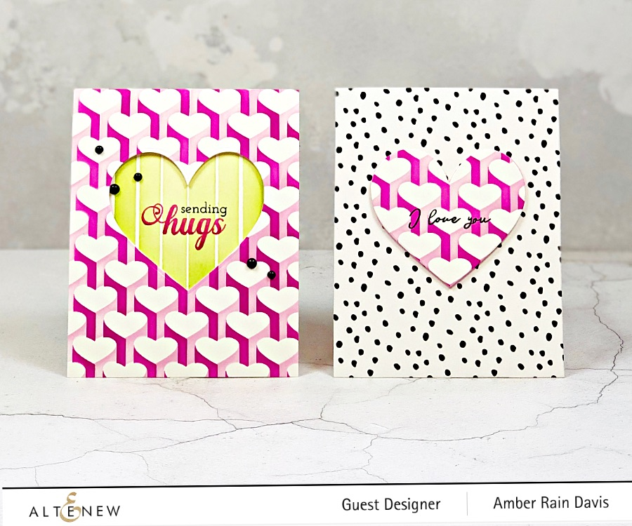 Altenew Heart Builder Stencil Twofer Card Set