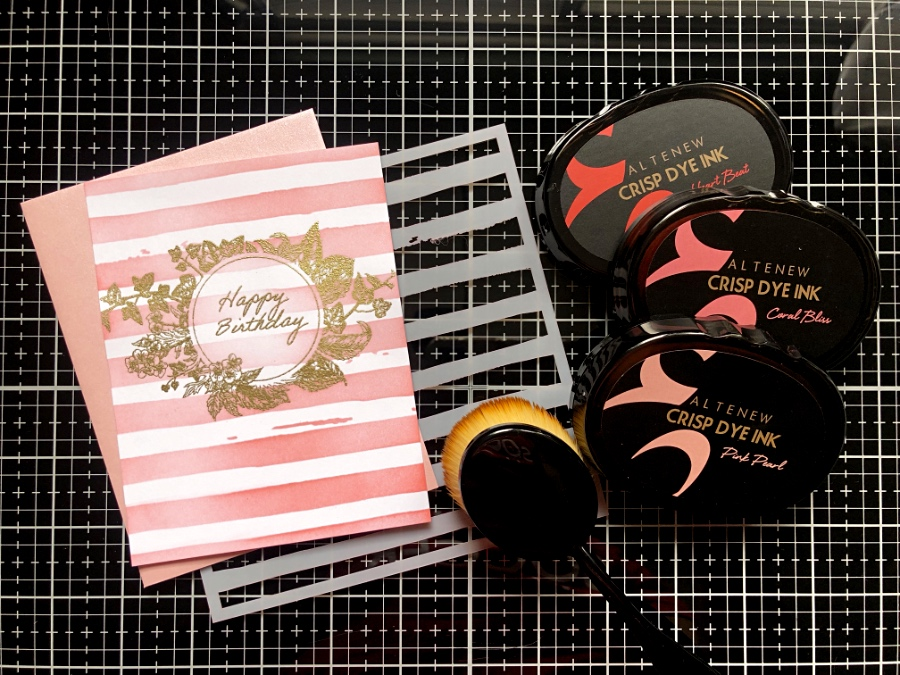 Sophia Frames Stamp Set, Altenew Tea Party Ink, Altenew Watercolor Stripes Stamp Set