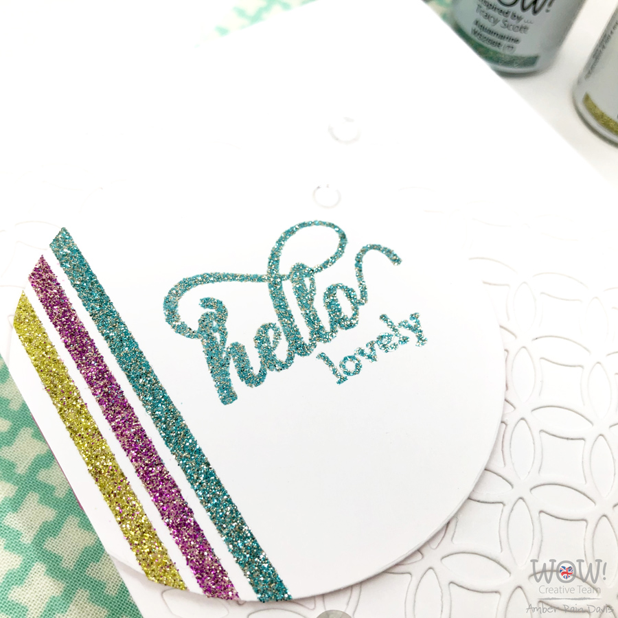 Glitter Embossing with double-sided tape & detailed sentiments