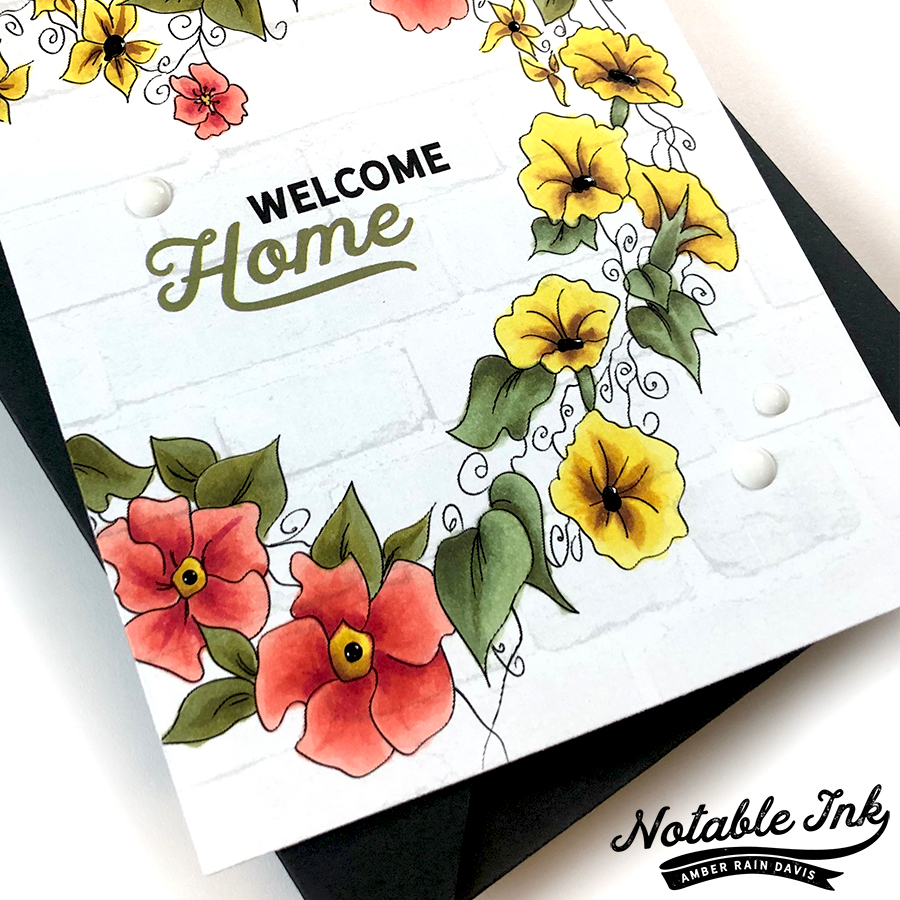 Welcome Home Copic Colored Beautiful Heart Stamp