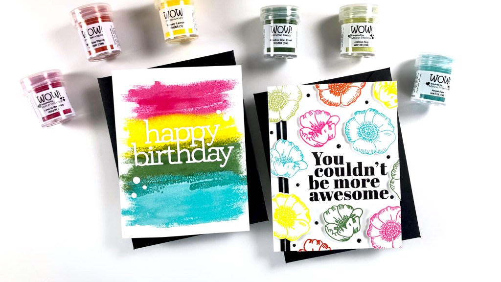 PINTEREST | WOW! + Simon Says Stamp Thankful Flowers Rainbow Embossing
