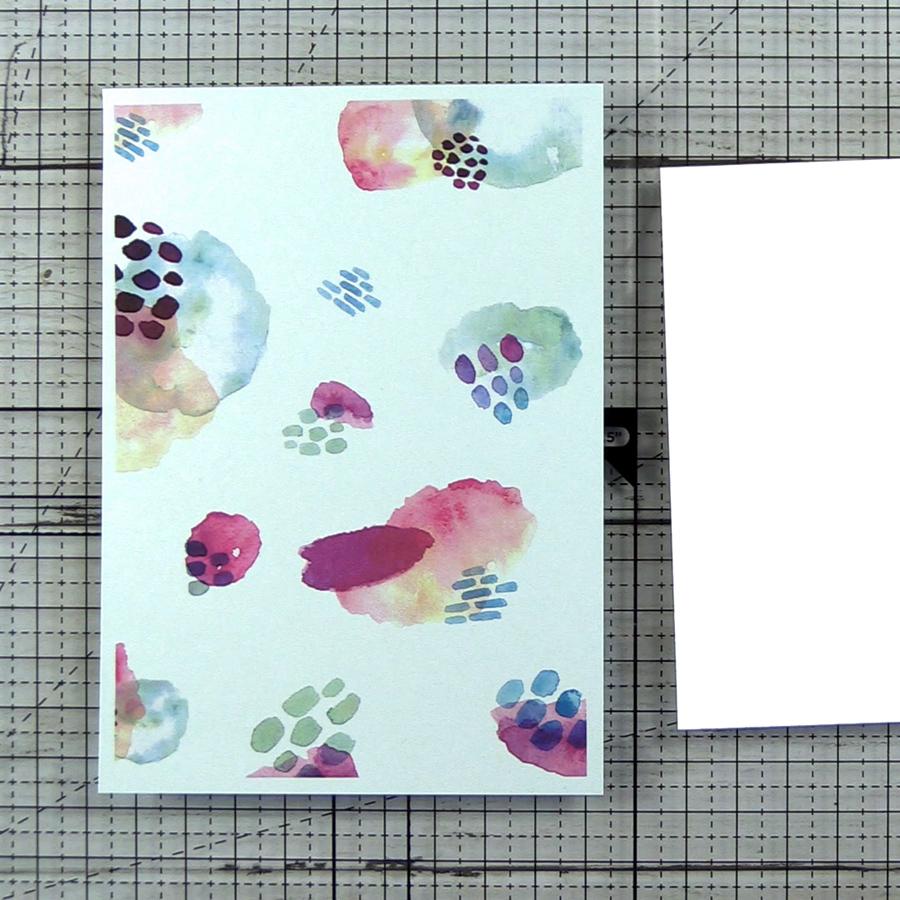 Digital watercolor paper printed on Stardream Metallic Aquamarine cardstock