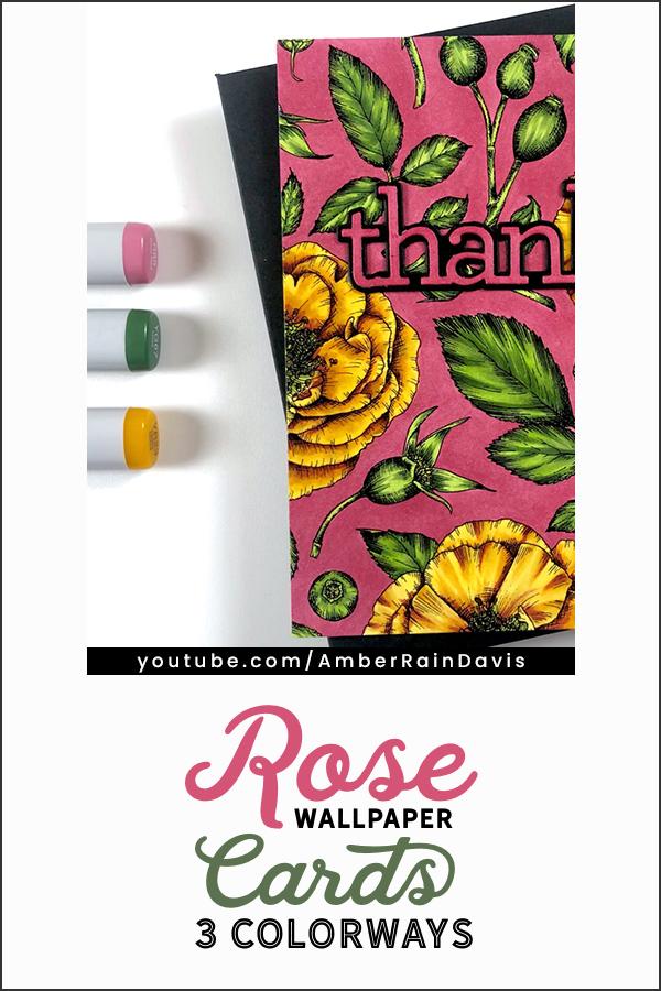 PINTEREST | Rose Digital Stamp in 3 Colorways
