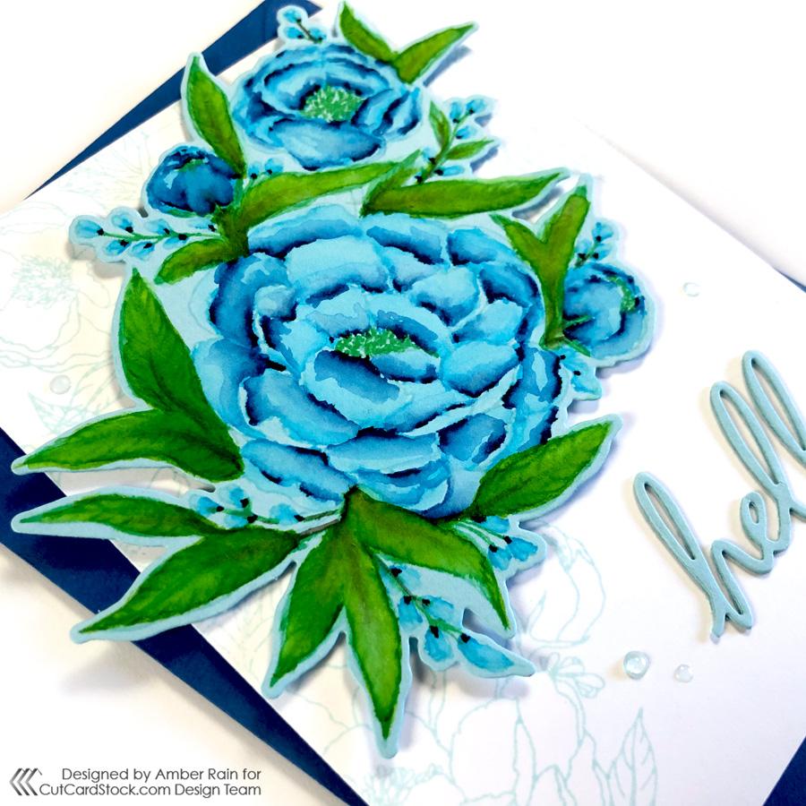 Watercolor Kraftgali Peony Bliss Stamp Set