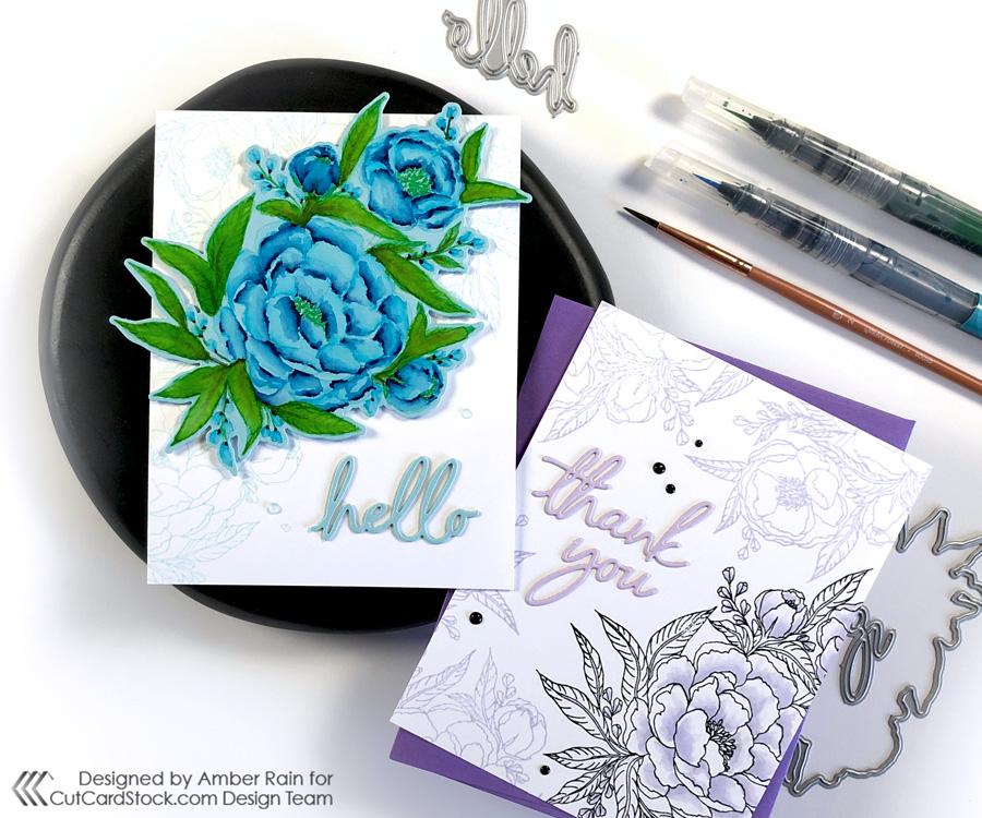 Watercolor Colored Cardstock | Kraftgali Peony Bliss