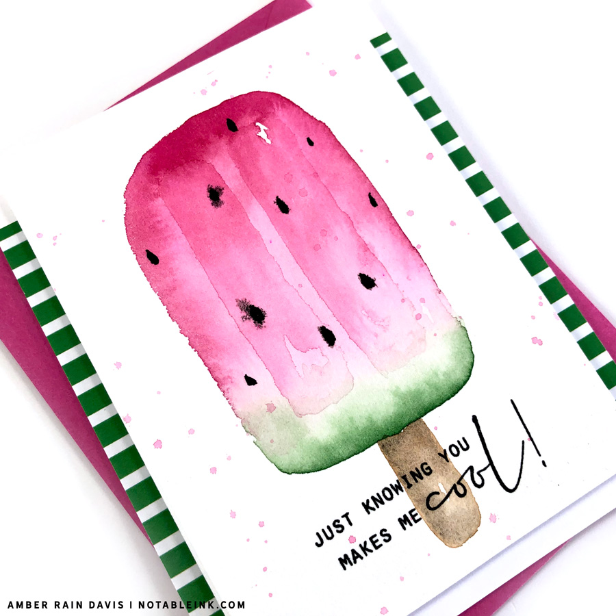 watermelon popsicle watercolor