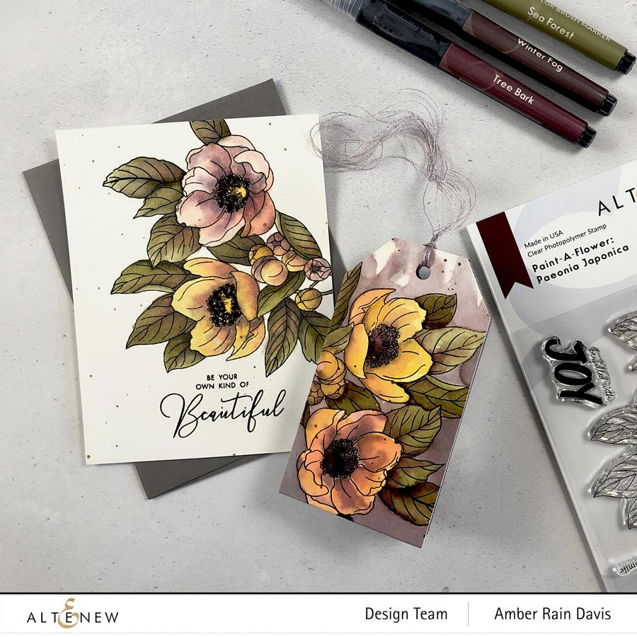 Vintage Watercolor Paint-A-Flower: Paeonia Japonica