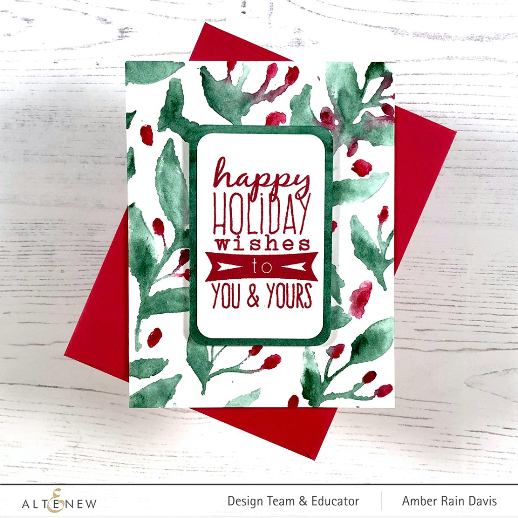 Sensational Stencils + Watercolor Christmas Card