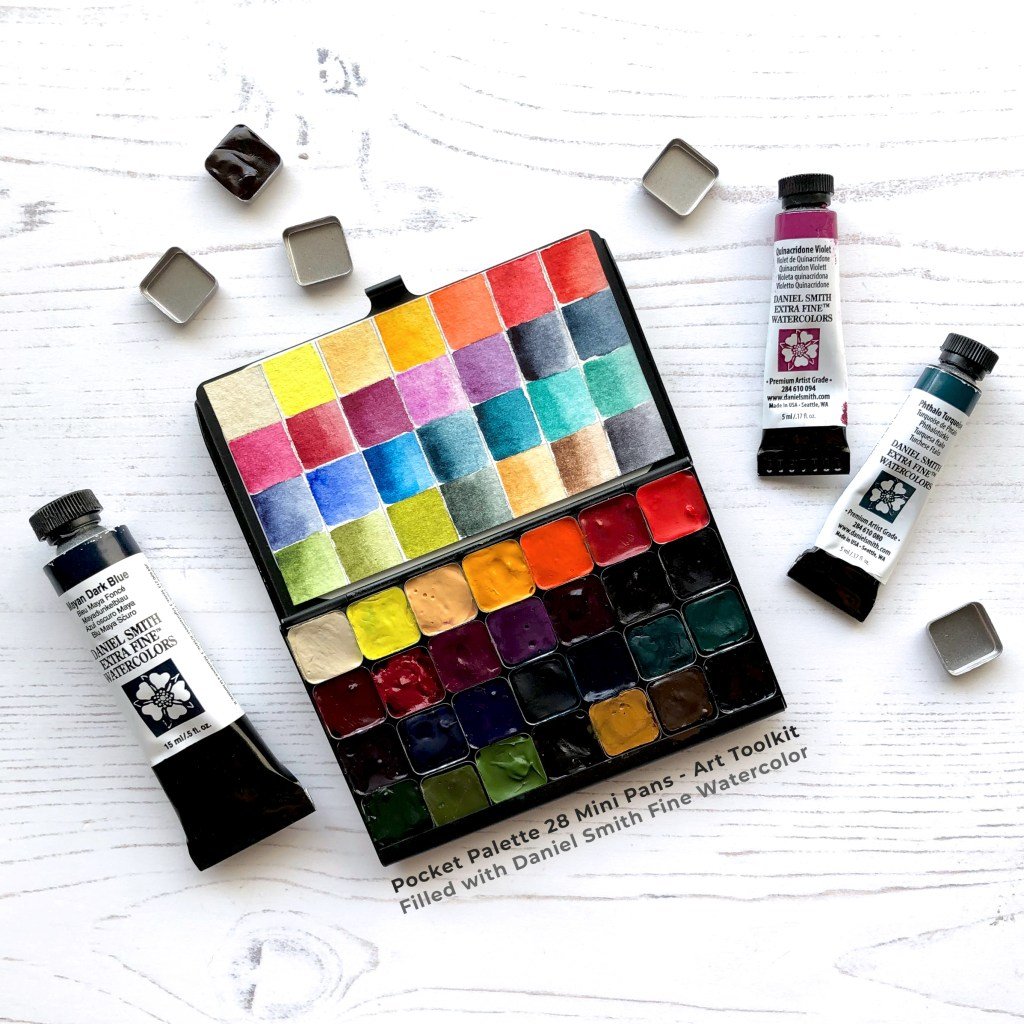 Pocket Palette with 28 Mini Pans by Art Toolkit & Daniel Smith Watercolor
