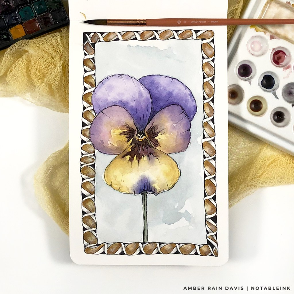 Watercolor Viola Flower with Zentangle Border