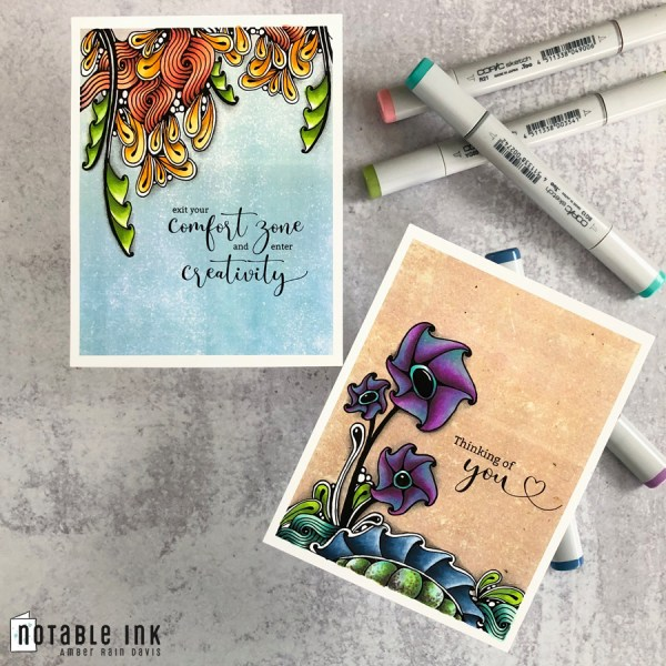 Zen Watercolor Swatch A2 Card Stamps Copic Colored