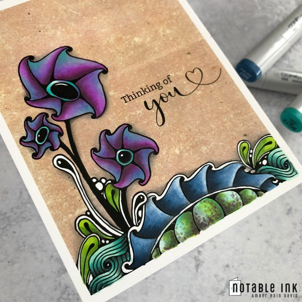 Zen Watercolor Swatch A2 Card Stamp Copic Colored