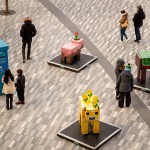 Minecraft sculptures in public square