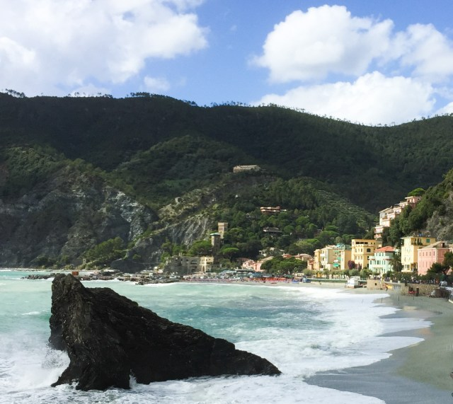 A view of the beach at Monterosso al Mare Cinque Terre Italy