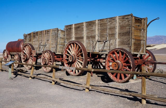 A double wagon at Harmony Borax Works in Death Valley National Park California