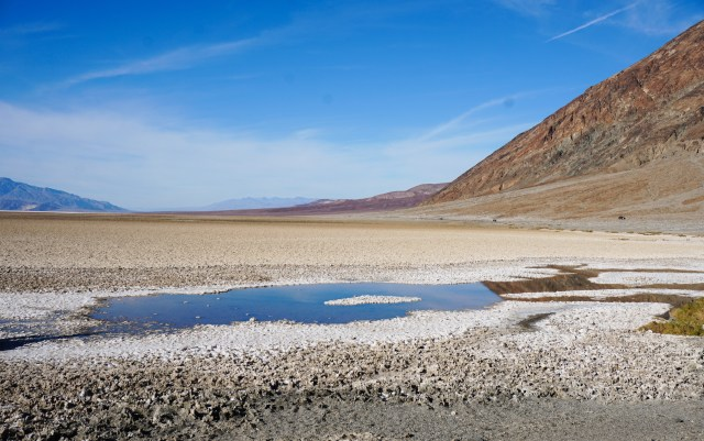Small pool of water at Badwater Basin in Death Valley National Park, California