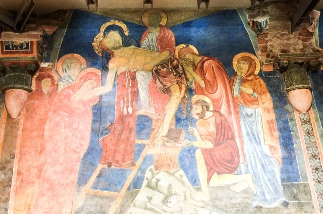 Painted walls and structural elements in the Crypt at the Duomo di Siena in Siena, Italy