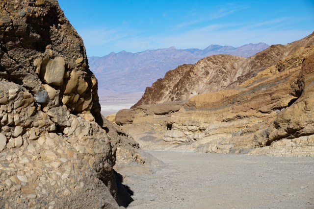 View looking out from Mosaic Canyon Death Valley National Park California