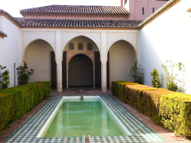Courtyard in the Alcazaba with a reflecting pool, Malaga, Spain