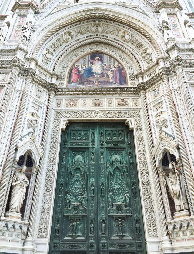 The green doors to the Duomo di Firenze