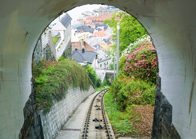 View of the city through the tunnel Mt Floyen Bergen Norway