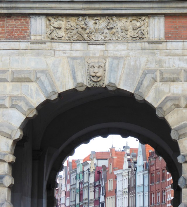 View through an arch at the Green Gate Old Town Gdansk Poland
